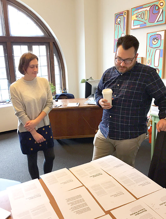 "Limestone Post Marketing & Advertising Director Emily Winters and ""A Sense of Place"" designer AJ O'Reilly, from Felt Creative, look at font choices for our art magazine. 