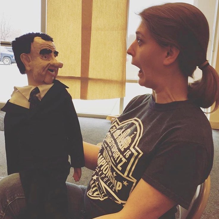 """What comedy show would be complete without a Richard Nixon ventriloquist dummy? None,"" says director Jesse Bernstein. A Nixon dummy is pictured here with actor Frankie Bolda."