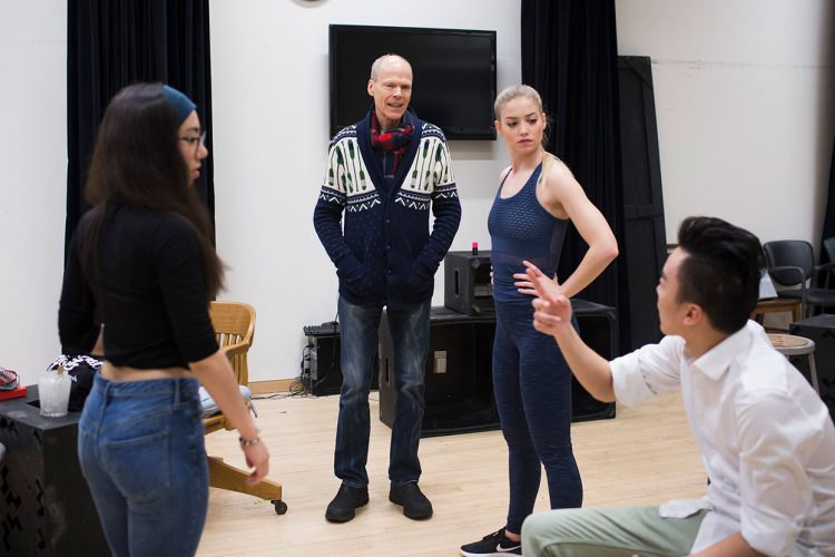 "Director Jonathan Michaelson, second from left, chats with (l-r) Nina Donville (Jasmine), Talia Santia (multiple characters), and Longfei Zhao (Maurice) during a rehearsal of ""Nice Nails."" 
