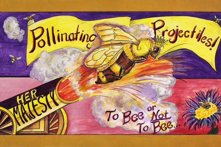 """Pollinating Projectiles!, To Bee or Not To Bee"" is one of many paintings in Joe and Bess Bohon Lee's exhibition, Professor Animalia's Menagerie of Struggling Species. The show will take place throughout the month of April at Blueline Gallery. 