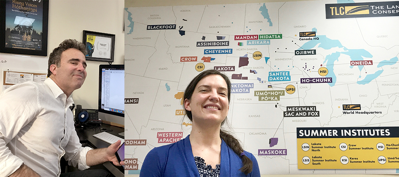 Mitch Teplitsky, left, TLC's public relations and communications director, at his desk and Rebecca Mueller, TLC's events coordinator, with a map of the organization's Summer Institute programs. | Courtesy photos