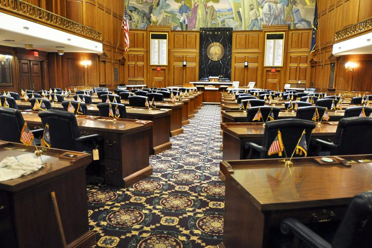 With the Indiana primaries over, IU research associate and policy analyst Luke Wood looks at how the Trump era has affected Democratic politicians and voters in Indiana ahead of the 2018 midterm election in November. The election could have a large impact on the makeup of the Indiana Senate and House (the House chambers are pictured here). | Photo courtesy of the Indiana Statehouse