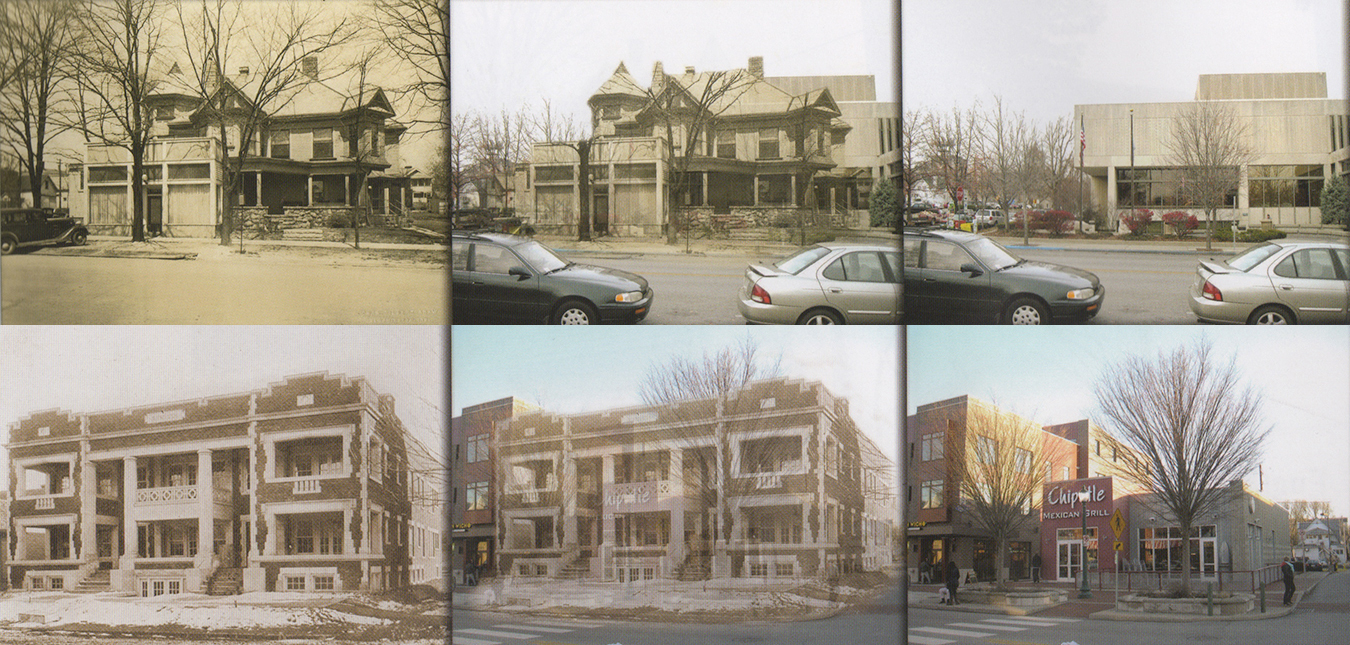 "Richey assembled these photos for his book ""Bloomington: Then & Now."" According to the book, a block of residential homes (top) was razed on Kirkwood around the late 1960s to make way for the Monroe County Public Library. (bottom) The Arbutus Flats once stood where Chipotle is today."