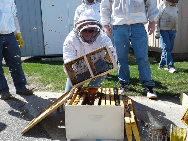 A bee expert puts bees in a deep hive body at the Bedford Bee Intensive in April. | Photo by Marla Bitzer