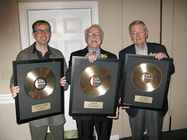 (l-r) Johnson stands with local jazz radio legends Joe Bourne and Dick Bishop. | Courtesy photo