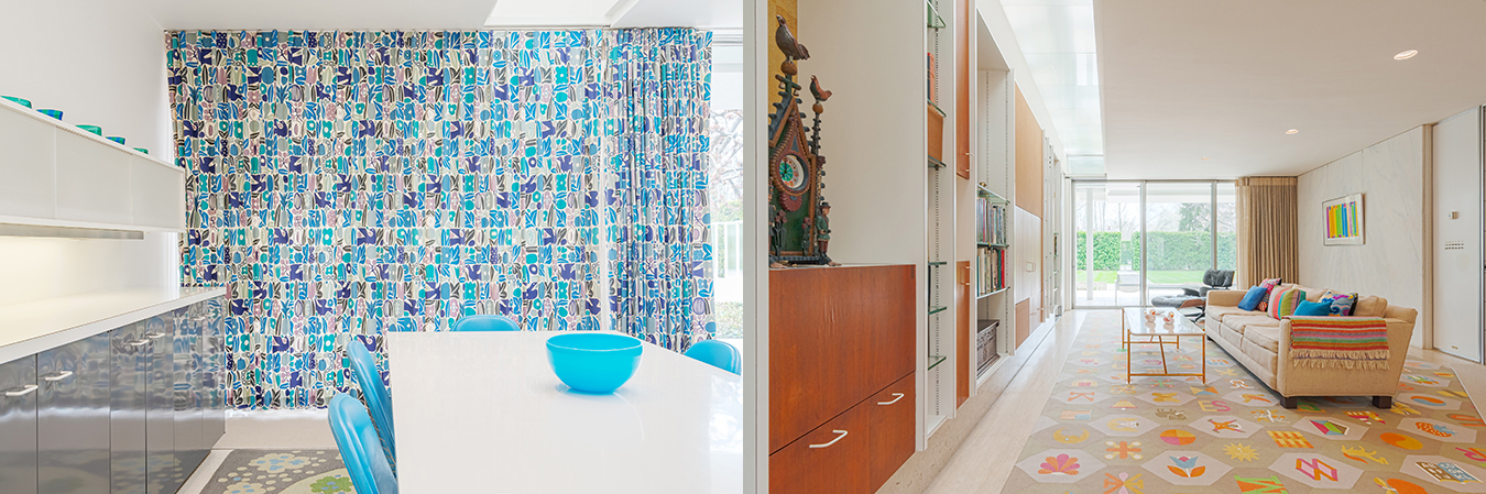 """The Millers' blue-tiled kitchen (left) and a sitting room that was always referred to as the """"TV room."""" 