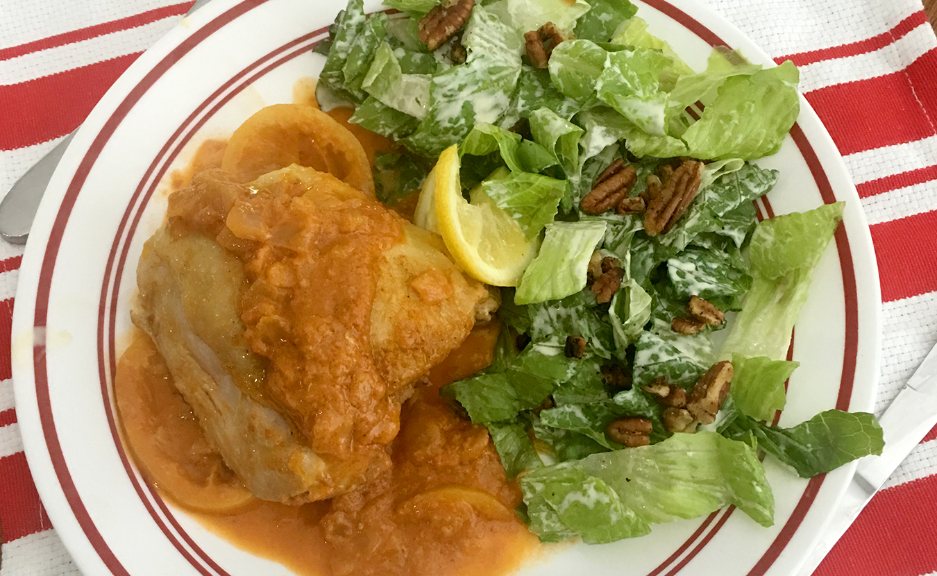 "While Ruthie Cohen's mother always kept a tin of dry mustard in the cupboard, Ruthie didn't acquire a taste for the ""nasty condiment"" until years later. Now she uses it frequently in dishes such as her Middle Eastern–style Chicken in Mustard Sauce and Romain and Walnut Salad (both pictured here). 