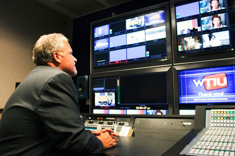"""WTIU Executive Producer Rob Anderson in the station's control booth. He says WTIU """"has always produced documentaries or long-form programs locally, and we take that very seriously."""" 