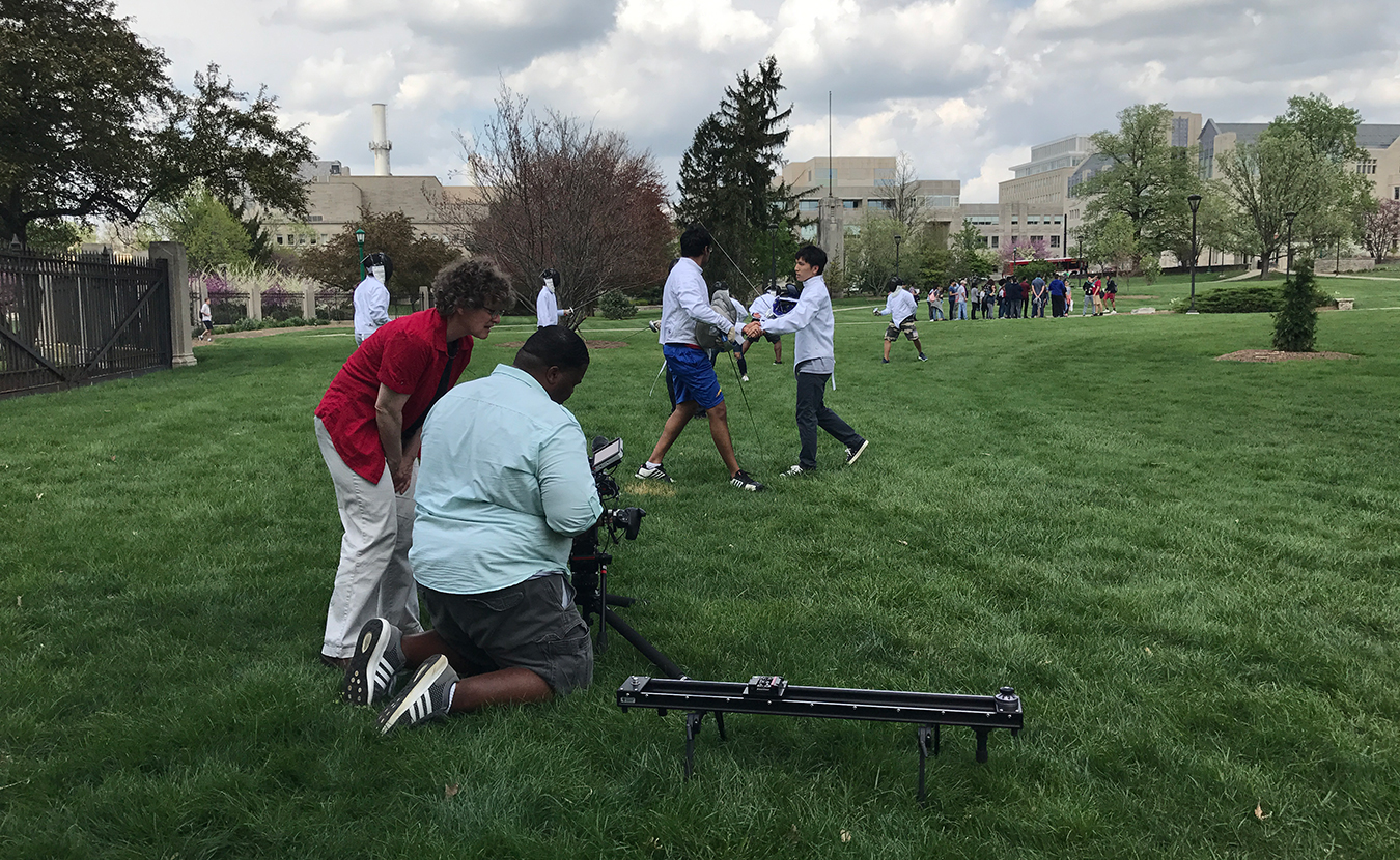 "WTIU producers Susanne Schwibs (left) and Justin Crossley work on a shot for their documentary, ""Beautiful by Design: Indiana University Bloomington Campus."" 