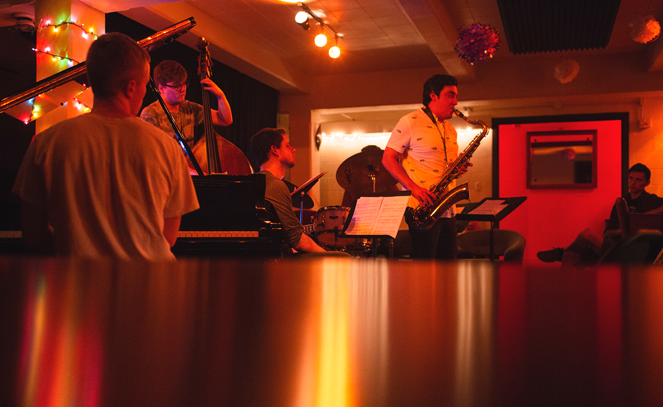 (l-r) Evan Main (piano), Philip Wailes (bass), Connor Evans (guitar), and Barclay Moffitt (tenor sax) perform at Blockhouse Bar in June. | Photo by Chaz Mottinger