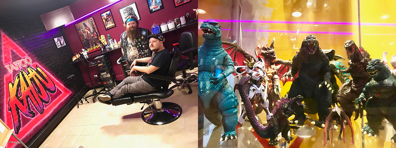 (left) McVillain stands next to Aldridge in the Tattoo KAIJU one-chair tattoo shop. (right) Display cases throughout the space overflow with monsters and action figures. | Photos by Samuel Welsch Sveen