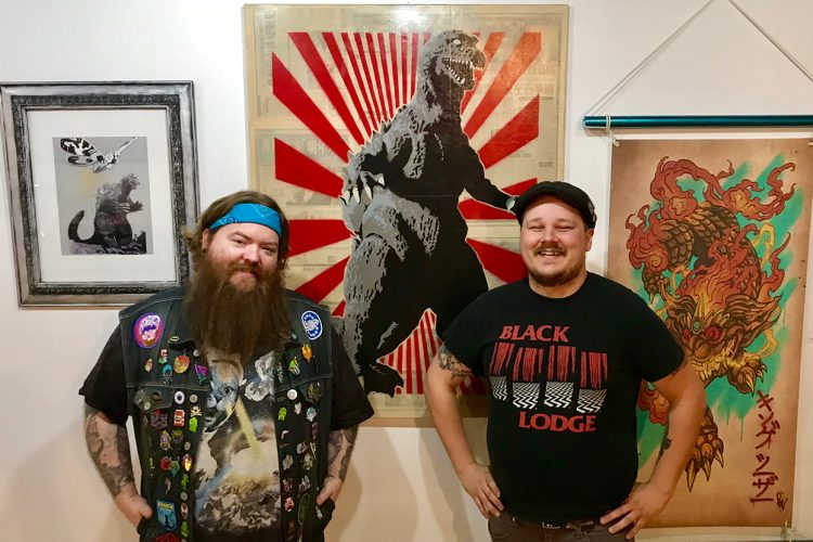 "New spaces — Delinquent Gallery & Tattoo KAIJU and Artisan Alley's Twisted — offer ""lowbrow"" and boundary-pushing art in Bloomington, says writer Samuel Welsch Sveen. Comics, video-game-themed artwork, cult movies, and tattoos can be found at one; artist studios, a healing shaman, and a retail store for edgier artwork at the other. Pictured here are Delinquent Gallery & Tattoo KAIJU's owners, tattoo artist Chris McVillain, left, and curator Brian Aldridge, right, with art for their inaugural show, ""Kai-July."" 