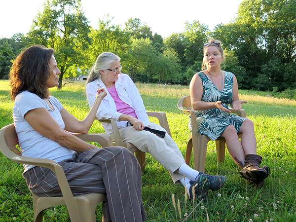 Lana, right, speaks with, left to right, Marilyn and Nancy (a founder) during a council meeting in 2017. | Limestone Post