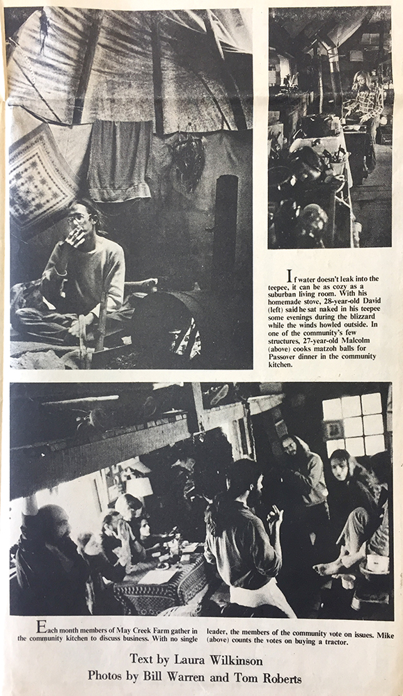 "In the 1970s, several publications — from ""The Herald-Times"" to the ""South Central Topics"" to ""The Courier-Journal & Times Magazine"" — reported on ""communes"" in the area, such as this 1978 photo spread about May Creek Farm in the ""Indiana Daily Student."" <a href=""https://www.limestonepostmagazine.com/wp-content/uploads/2018/07/May-Creek_IDS-spread.jpg"" target=""_blank"" rel=""noopener"">Click here to see the entire spread</a> and <a href=""https://www.limestonepostmagazine.com/wp-content/uploads/2018/07/May-Creek-IDS-text.jpg"" target=""_blank"" rel=""noopener"">click here to read the IDS's story.</a>"