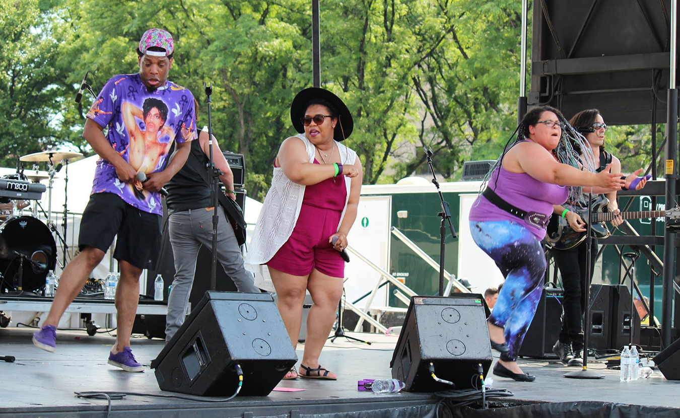 Mosley, left, performs with Royalty, a Prince tribute band. | Courtesy photo
