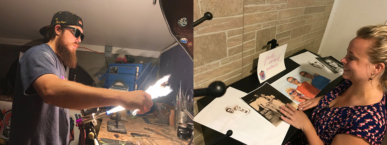"(left) Glass artist ""Rowdy"" carefully torches, twists, and blows glass into colorful designs. (right) Artist Jade Council translates photos new and old into commemorative, hand-drawn portraits. 