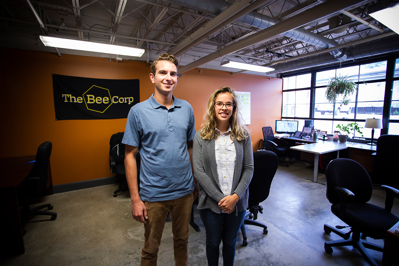 "Wyatt Wells, left, and Ellie Symes of The Bee Corp say that more and more people value B corps and their commitment to ""doing good."" 