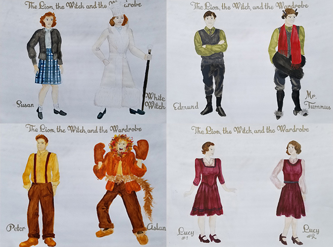 Cardinal Stage's production of 'The Lion, The Witch, and The Wardrobe' transforms a small cast into the magical creatures of Narnia using everyday objects. | Sketches by Kayla Cieslinski, costume designer