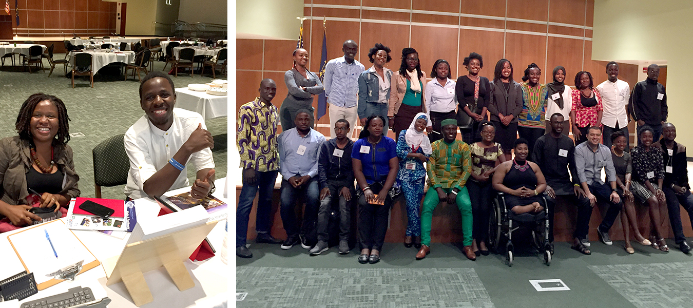 (left) Mweze sits with Mandela Washington Fellow Eastina Taylor during an event at Ivy Tech Community College in Bloomington. (right) Mweze says there were 24 other Fellows from 20 different countries. | Limestone Post