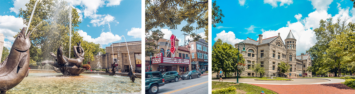 (left to right) Showalter Fountain on the IU campus, Buskirk-Chumley Theater on Kirkwood Avenue, and IU's Maxwell Hall | Photos by Francis Shok Mweze
