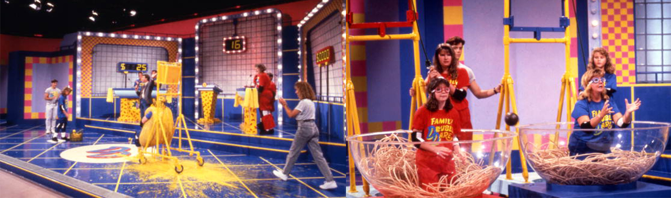 "Families participate in challenges during Nickelodeon's 'Double Dare,' considered one of TV's messiest shows. Here, in 1990, someone dressed as a hotdog bun gets covered in ""mustard"" (left) and folks sitting in ""spaghetti"" try to catch falling ""meatballs."" 