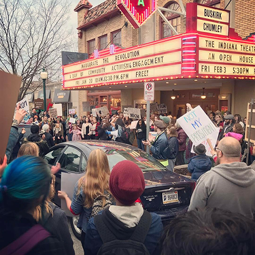"Hollett explains that there can be ""deep rifts in policy and beliefs that can occur among people who otherwise identify as leftists of some kind."" Pictured here in January 2017, local activists and residents came together during the Inaugurate the Revolution event in protest of Trump's election. 