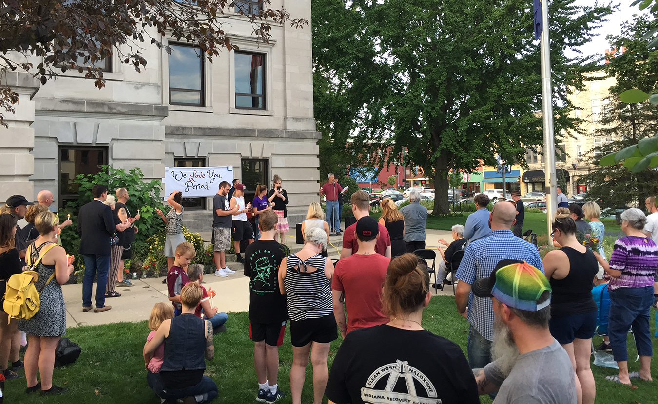 "Hollett says, ""Bloomington is rife with evidence that recent economic decisions may be harmful to any number of people."" This includes resistance to harm-reduction initiatives in the wake of the opioid epidemic. Pictured here are folks attending the 4th Annual Overdose Remembrance and Candlelight Vigil in late August. 