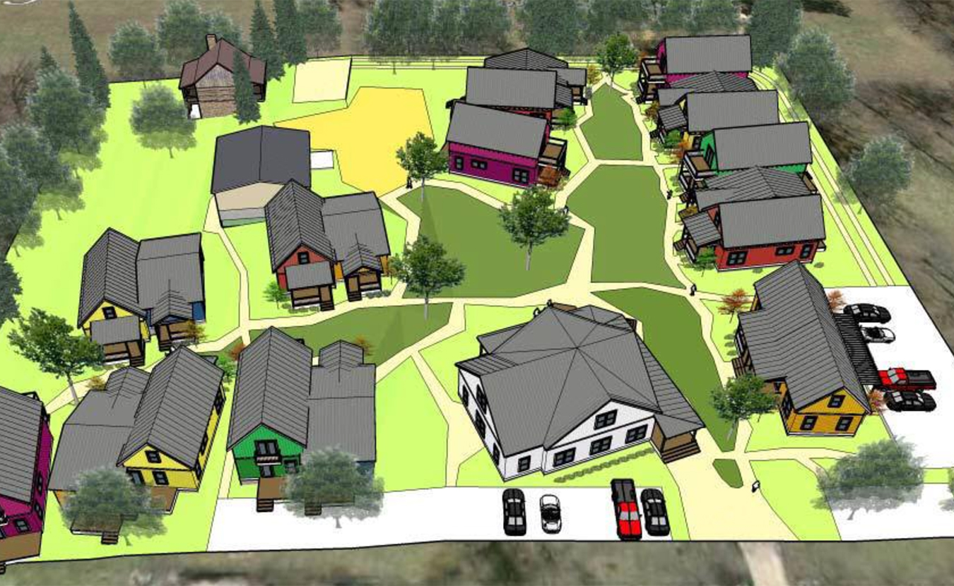 The Bloomington Cohousing Project is planning a collaborative housing community on the south side of Bloomington, where homeowners will live in individual houses but share other common amenities. Writer Michael Glab talks to co-founder Marion Sinclair and builder Loren Wood in his latest Big Mike's B-town. This early rendering shows individual homes designed to foster community, with shared green space, gardens, buildings, and other features. | Courtesy image