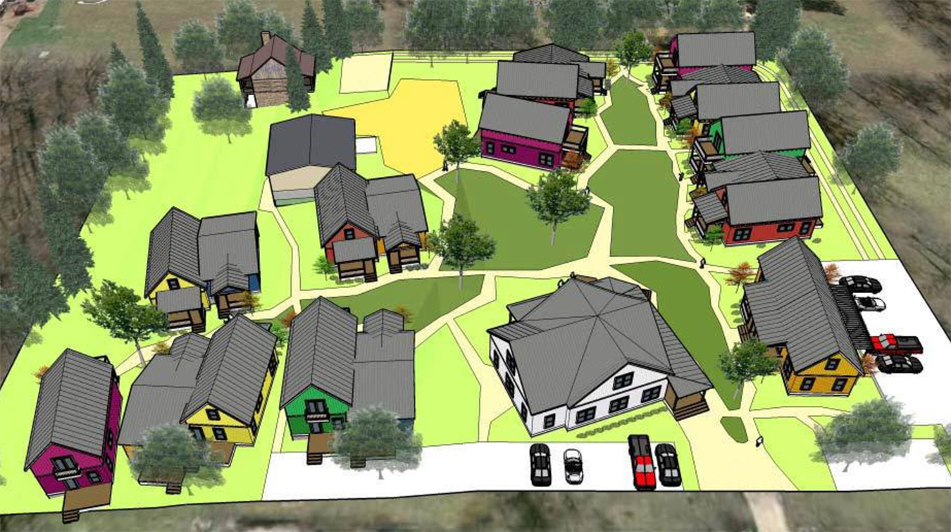 The Bloomington Cohousing Project is planning a collaborative housing community on the south side of Bloomington, where homeowners will live in individual houses but share other common amenities. Writer Michael Glab talks to co-founder Marion Sinclair and builder Loren Wood in his latest Big Mike's B-town. The project has grown significantly since this early rendering was created, with even more amenities designed to foster community, with shared green space, gardens, buildings, and other features. | Courtesy image