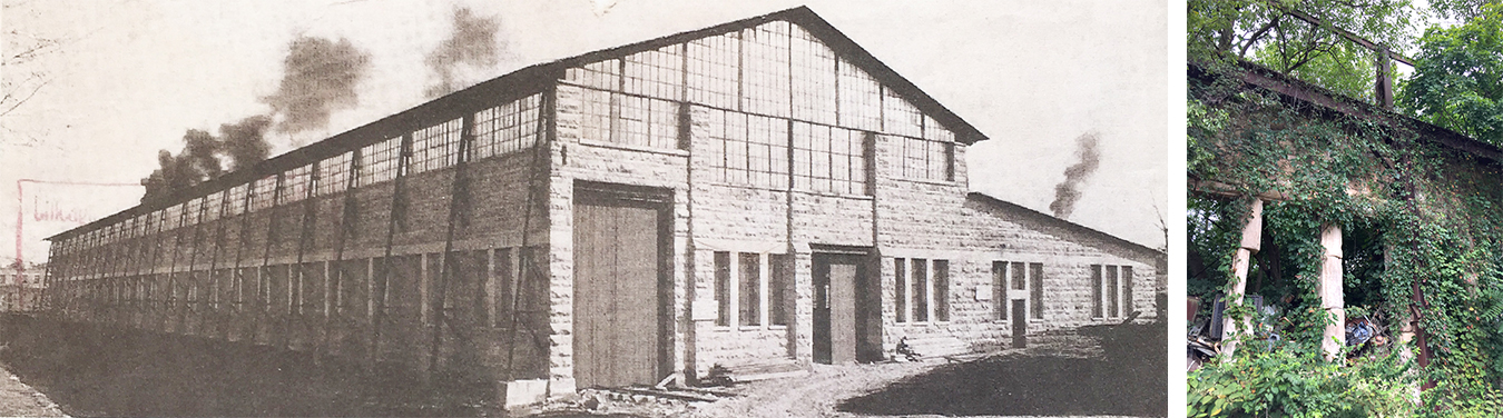 (left) Fulwider worked in the drafting office of Shawnee Stone Company (also known as Central Oolitic Stone Company), located between West 7th and 11th streets on North Rogers, in the summer of 1930. | Photo courtesy Of Bloomington Iron & Metal (right) Remnants of the stone mill can still be seen today. | Limestone Post