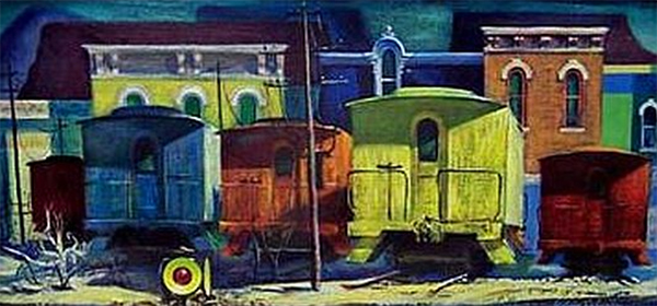Trains and familiar Bloomington architecture frequented Fulwider's work, such as this painting, called 'Sidelined #399.' | Photo courtesy of Covington Fine Art Gallery