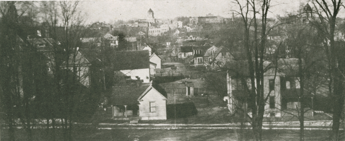 This photo looking north over Bloomington from the roof of Bloomington High School was taken in 1915, just two years after Edwin Fulwider was born. The street at the bottom is 2nd Street between College and Walnut. | Photo courtesy of IU Archives