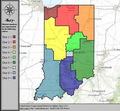 Indiana's congressional districts have looked like this since 2013. | Public Domain