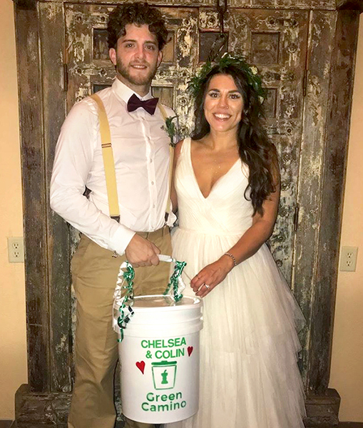 Client Chelsea Benfer and her husband, Colin Downey, invited Green Camino to compost at their wedding. | Photo courtesy of Green Camino