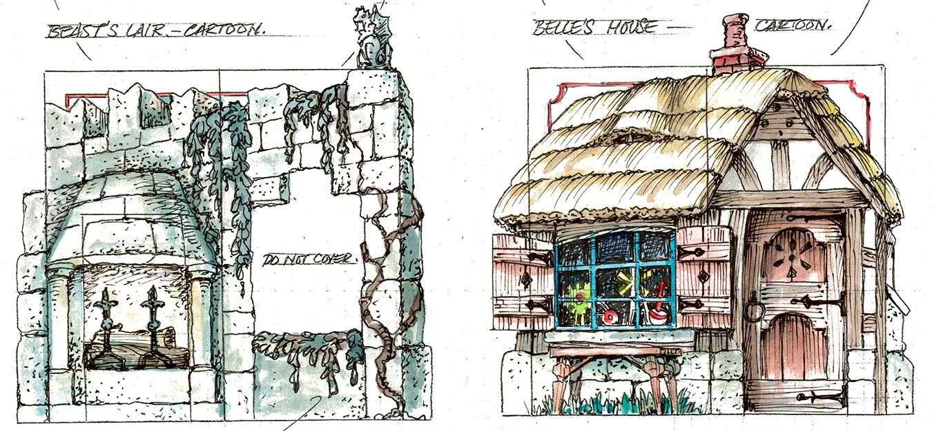 Sketches of set designs by David C. Higgins for Cardinal Stage Company's production of 'Disney's Beauty and the Beast.' The original sketches will be auctioned off at CardinalStage.org.