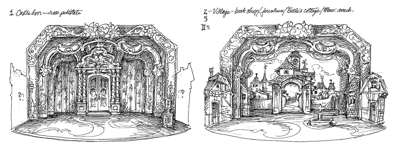 Higgins creates a variety of sketches for each set design to guide the building process, such as this one of the castle doors (left) and Belle's village.