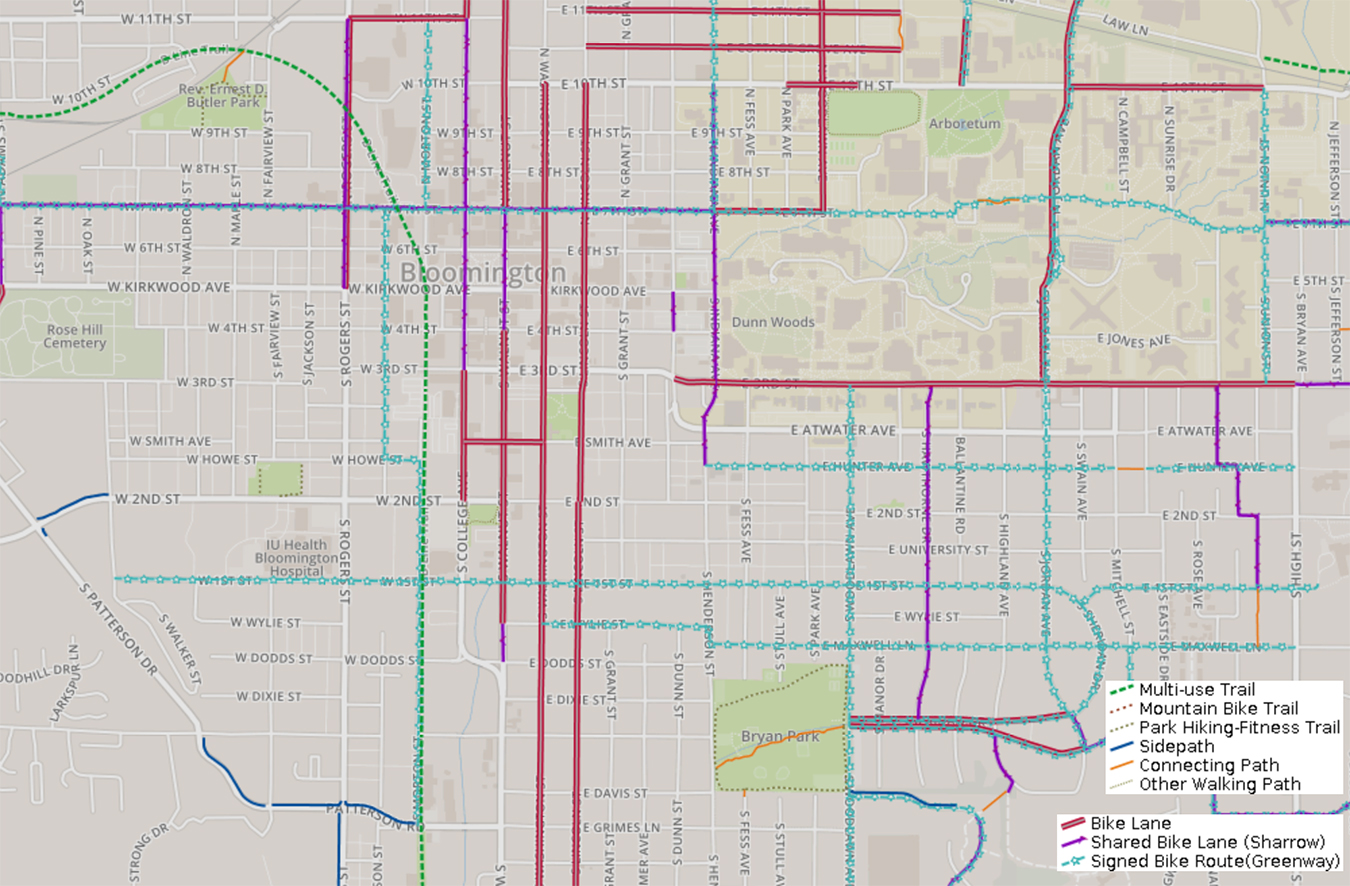 This map from the City of Bloomington shows bike and trail routes in the downtown area. Click here to see the complete version. | Courtesy image