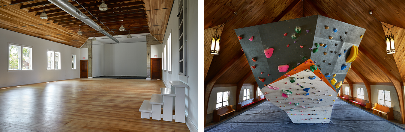 "(left) The yoga room is located in the original sanctuary of the old church. Yoga classes are free for Hoosier Heights members and $15 for non-members. (right) ""Bouldering"" is the term for climbing on smaller formations without ropes or a harness. This is a great way for new climbers to test their abilities."