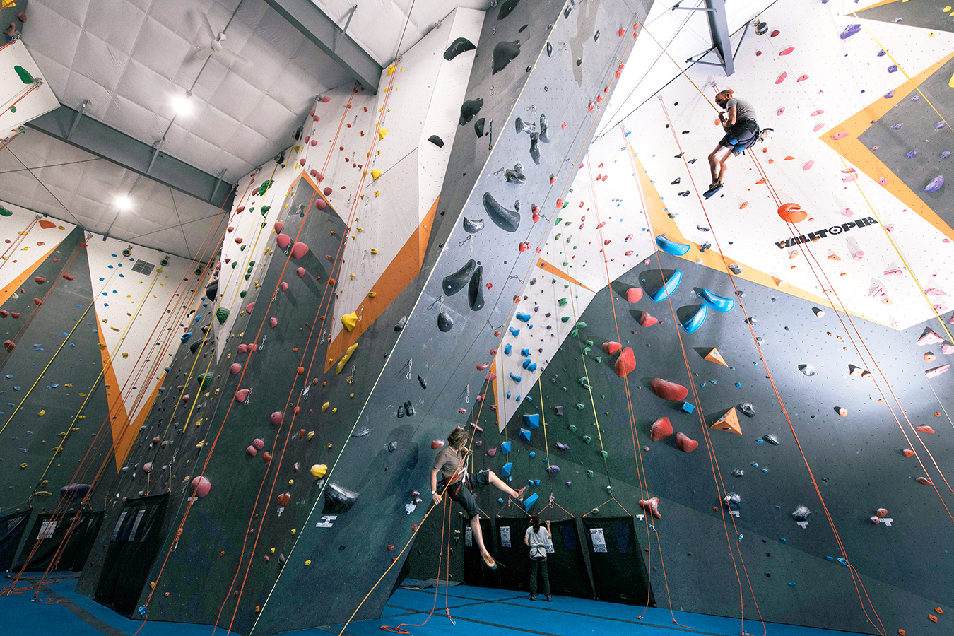 Hoosier Heights offers a variety of climbing experiences and welcomes climbers of all ages and expertise. The new gym has bouldering, a classic belay as well as an auto-belay system, and a ropes room. In addition, the new location in McDoel Gardens has a community room, yoga classes, and exercise equipment.