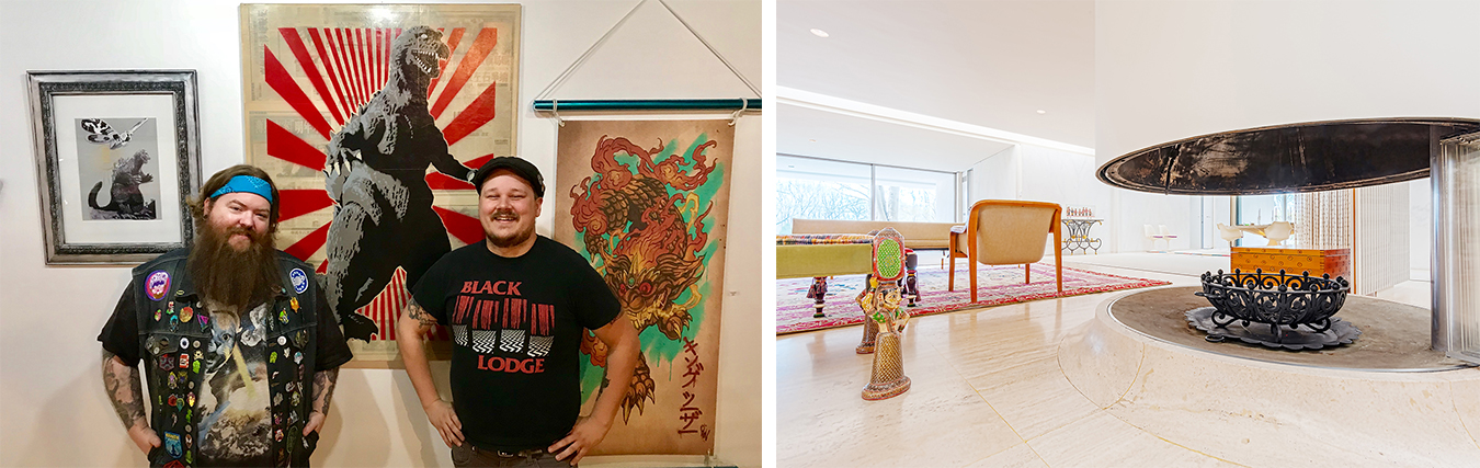 "(left) New space — Delinquent Gallery & Tattoo KAIJU offers ""lowbrow"" and boundary-pushing art in Bloomington. Delinquent owners, tattoo artist Chris McVillain, left, and curator Brian Aldridge, right, with art for their inaugural show, ""Kai-July."" 