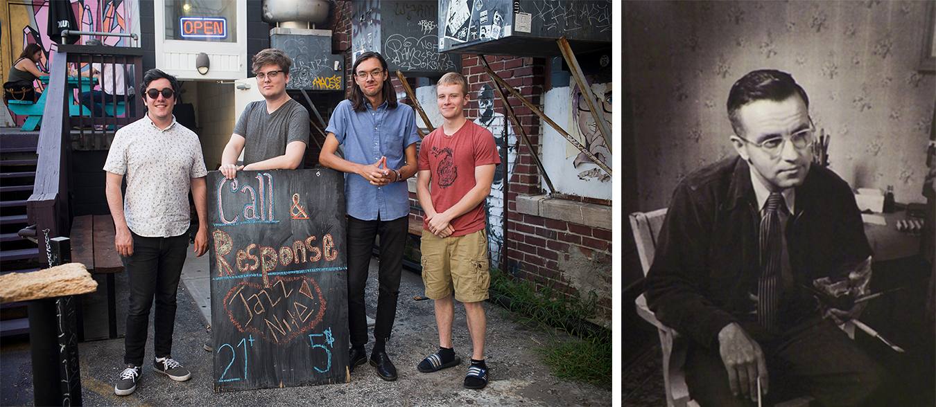 "(left) On Wednesday nights at Blockhouse Bar, the Call &amp; Response House Band features local and national jazz artists. From left: Barclay Moffitt, tenor sax, Philip Wailes, bass, Ben Lumsdaine, drums, and Evan Main, piano. | Photo by Chaz Mottinger (right) Edwin Fulwider was born in Bloomington in 1913 and grew up to be an esteemed artist. However, he's been largely forgotten in his hometown. Fulwider wrote a memoir about growing up in Bloomington in the early 1900s. | Photo courtesy of <a href=""http://covingtongallery.com/contact-a-0.htm"" target=""_blank"" rel=""noopener"">Covington Fine Arts Gallery</a>"