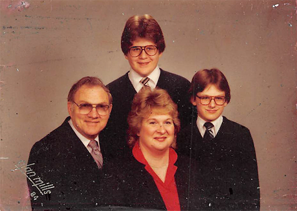 Troy (top, center) with his step-dad, Russell Kearby, mom, Janice Petty (then Kearby), and brother, Martin Maynard. | Courtesy photo