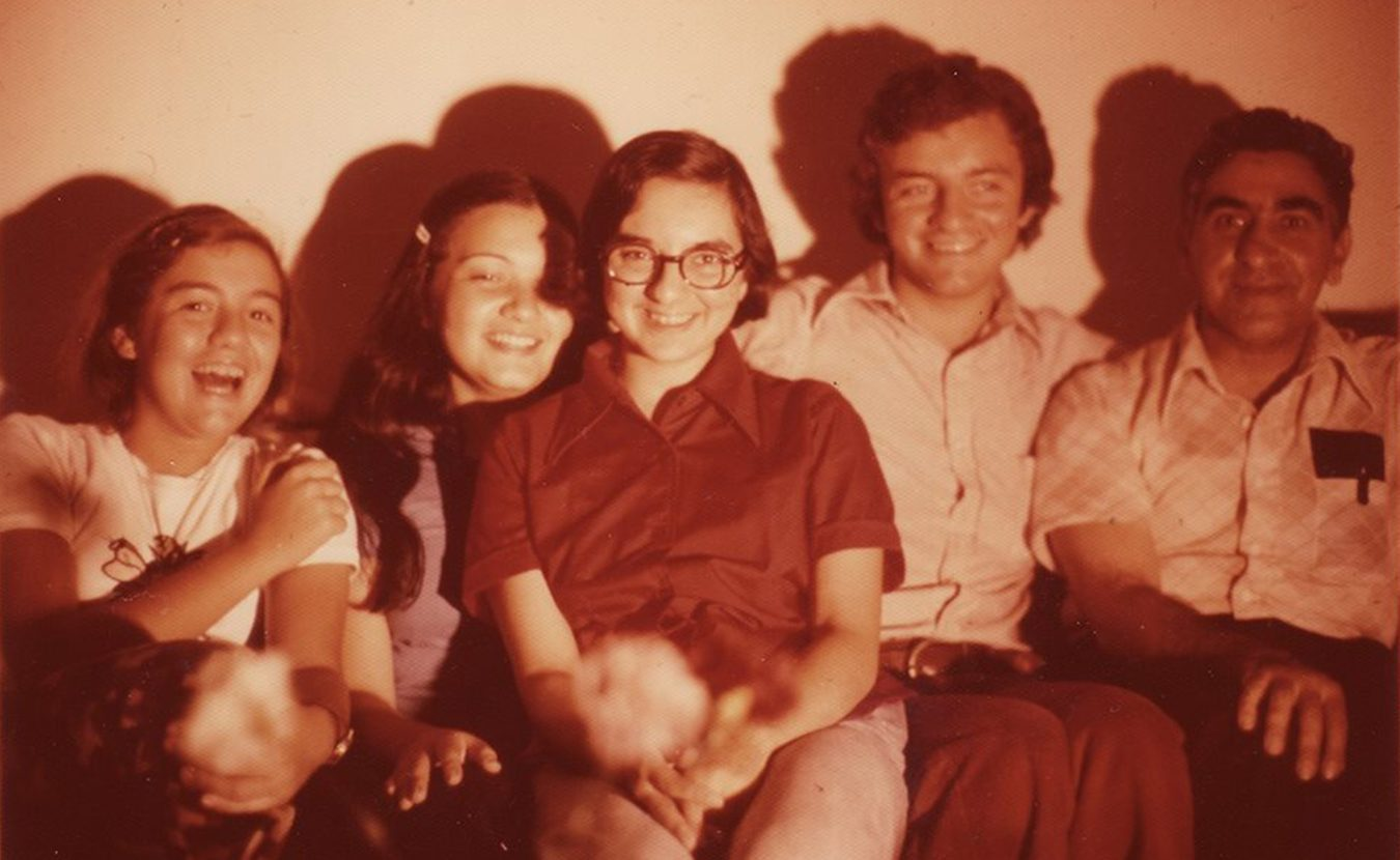 """Zaineb Istrabadi (center), pictured here in Bloomington in 1974 with her father, Rasoul (right), and cousins, calls herself """"a Baghdadi. Hoosier"""" Writer Michael G. Glab calls her the apotheosis of a Midwesterner in his profile of the longtime senior lecturer in IU's Department of Near Eastern Languages & Cultures. 