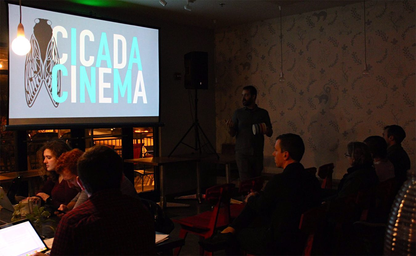 Cicada Cinema, a small, community-driven and volunteer-run pop-up theater in Bloomington, hosts a variety of underrepresented films and related activities. Pictured here is a recent event at Hopscotch Coffee. Cicada Cinema will screen Amazon Studios' 'Beautiful Boy,' a film about coping with addiction, followed by a discussion, at the FAR Center for Contemporary Arts on Tuesday, February 12. | Photo by Nicole McPheeters