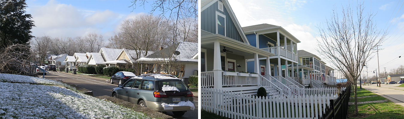 (left) South Washington Street displays the distinct architecture of porches built in the early 1900s. (right) The 2014 houses on South Morton Street, along the B-Line Trail, mirrors the same staccato pattern. | Photos by Harriet Castrataro