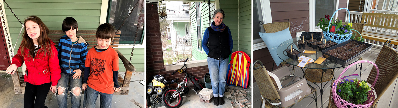 (left and center photos) Leora Baude's front porch on the Near West Side is a haven for her kids and their toys. (right) The porch of the James Clawson family along the B-Line Trail is an example of how families use modern front porches. | Photo by Harriet Castrataro