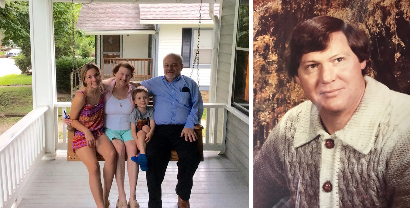 "(left) Castrataro says, ""Like front porches, swings are liminal, between two states: motion and stillness. And they are great spaces for families and kids. Here I am with my husband and grandkids on our Mefford porch swing."" (right) Vernon L. Mefford, master swing builder and owner of Swings by Mefford, in his earlier years. 