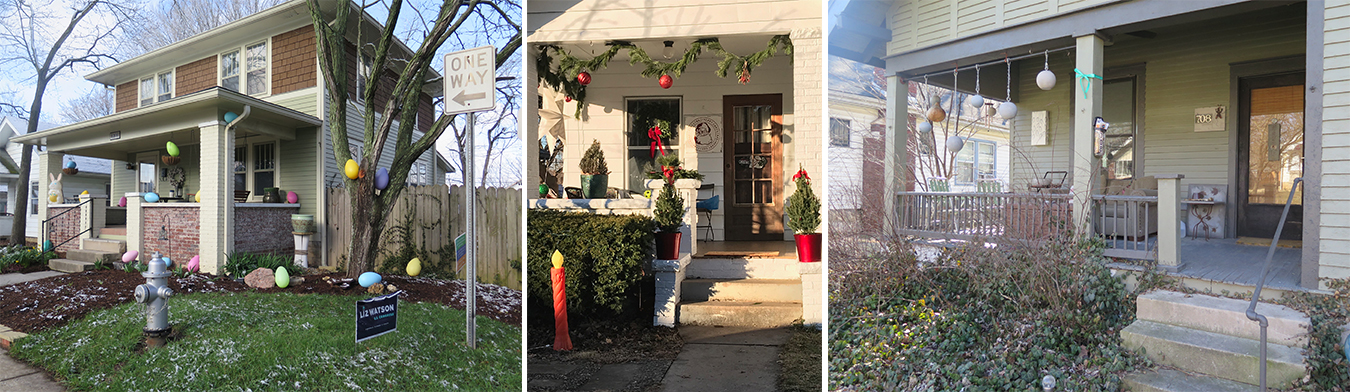 """""""In Bloomington, we also use our front porches all year-round as a stage to celebrate holidays, the seasons, and our own individual tastes,"""" Castrataro says. Pictured here are porches that highlight the seasons and the natural world. 