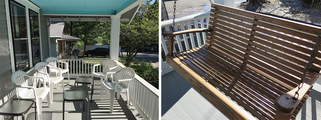 Castrataro's front porch and swing by Mefford allows her to enjoy the outdoors, yet still be protected. | Photos by Harriet Castrataro