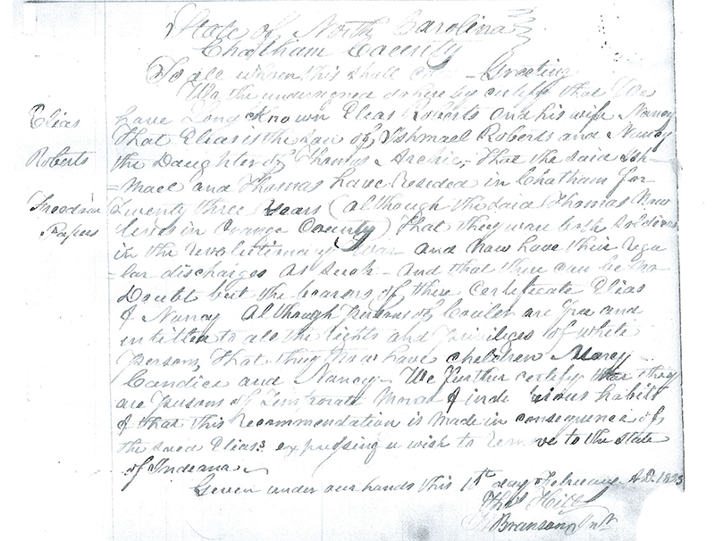 "Lick Creek settler Elias Roberts's freedom papers, also called ""free papers."" Roberts once owned 640 acres in three different spots at Lick Creek to help other Blacks settle in the area. See the end of the story for transcriptions of the freedom papers for Elias Roberts and John B. Thompson. 
